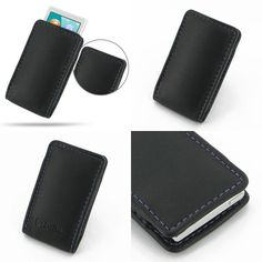 PDair Leather Case for Apple iPod nano 7th Generation - Vertical Pouch Type (Black/Purple Stitchings)
