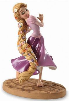 WDCC Disney Classics Tangled Rapunzel Braided Beauty #WDCCDisneyClassics #Art. Tangled From Snow White to Cinderella, from Ariel to Belle, the beauty and charm of Disney's Princesses have enchanted audiences of all ages. Now, from Tangled, a new princess has joined the royal ranks. Happy to be free of her imprisoning tower, Rapunzel joyfully luxuriates in her long tresses, freshly styled by the village children. Ever conscious of the principles of authenticity and character.