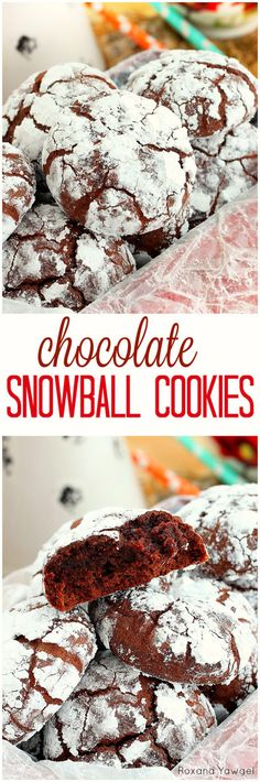 Super soft and super fudgy, chocolate snowball cookies