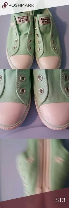 Converse slip on Womens 9 Only worn once a few scuffs on toe as shown in 2nd picture would most likely come out with a wash. Beautiful sea foam green sadly they were too small for me Converse Shoes Sneakers