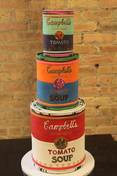 This Andy Warhol Campbell Soup cake should definitely be made for your wedding. Cake In A Can, Just Cakes, Let Them Eat Cake, Pretty Cakes, Beautiful Cakes, Amazing Cakes, Crazy Cakes, Fancy Cakes, Pink Cakes