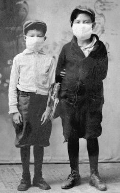 Children ready for school during the 1918 flu epidemic. My great great grandpa succumbed to this epidemic in the last three months of it!