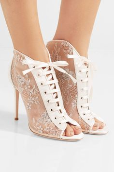 Jimmy Choo - Freya Lace-up Metallic Embroidered-tulle And Satin Ankle Boots - White