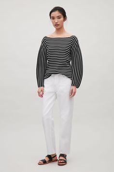 COS image 1 of Striped rib jumper in Black