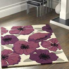 Poppies Plum Rugs   Buy Online At Modern Rugs UK
