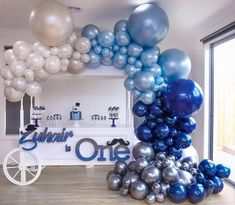 There's no feeling blue with this stunning setup🙌🏻🙌🏻 Racha Sleiman Boutique Balloons Store. Balloon Backdrop, Balloon Garland, Balloon Decorations, Birthday Party Decorations, Baby Shower Decorations, 1st Boy Birthday, 1st Birthday Parties, Deco Ballon, Baby Shower Balloons