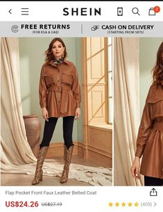 Flap Pocket Front Faux Leather Belted Coat Use promocode: SADCA15 to get extra 15% discount