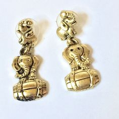 Rare Bergdorf Goodman Signed 1995 BG Gold Tone Elephant Pierced Earrings #1995BGBergdorfGoodman #Clipback