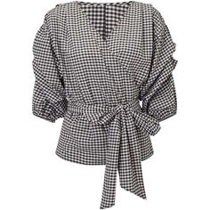 Miss Selfridge Gingham Wrap Blouse ($55) ❤ liked on Polyvore featuring tops, blouses, assorted, miss selfridge tops, miss selfridge, wrap style top, wrap tops and gingham top