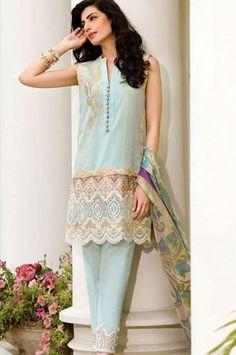 Faraz Manan Crescent Lawn Eid Collection 2015 For Girls