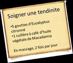 Treat tendinitis with essential oils, Eucalyptus Citronné, R Cafe, Health Care Reform, Aromatherapy Oils, Medical Care, Utila, Natural Medicine, Natural Health, Body Care