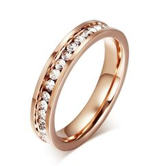 c2fc23869b2 Women Rose Gold Plating Stainless Steel CZ Band Wedding Engagement Ring Sz  5-10