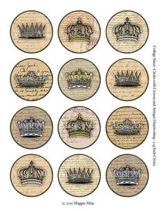 Grungy Crowns and Handwriting Digital Collage Sheet - 2.25 Inch Circles - Instant Download - Stained
