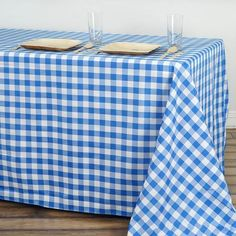 """Buffalo Plaid Tablecloths   90""""x156"""" Rectangular   White/Blue   Checkered Polyester Linen Tablecloth   eFavorMart Tablecloth Rental, Tablecloths For Sale, Picnic Tablecloth, Plaid Tablecloth, Tablecloth Sizes, Chair Covers, Table Covers, Blue Kitchen Curtains"""