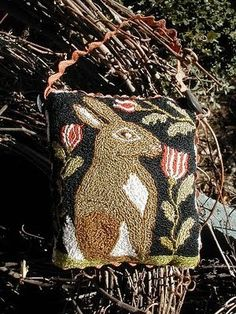 Primitive Rabbit Punch Needle Pattern by notforgottenfarm on Etsy