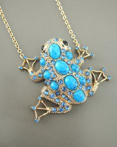 Vintage Necklace  Statement Necklace  Frog by chloesvintagejewelry