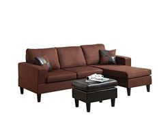 ACME Robyn Rev. Chaise Sectional and Ottoman with 2 Pillows, Chocolate MFB and Espresso PU