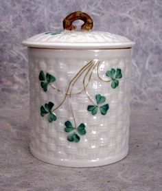 Old Belleek Jam Jar With Shamrocks