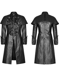 Mens Gothic Steampunk Jacket Coat Victorian Military Style Damask Winter Classic Leather Trench Coat