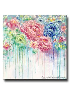"ORIGINAL Art Abstract Painting Flowers Blue White Pink Floral Textured LARGE Canvas Wall Art Colorful Abstract Peonies Home Wall Decor XL 36x36"" -Christine Krainock"