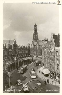 1949. A view of the Raadhuisstraat in Amsterdam. In the background the Westerkerk. The Raadhuisstraat is located between Nieuwezijds Voorburgwal and Keizersgracht. The street was named after the former city hall on the Dam Square, now the Royal Palace. The Raadhuisstraat was constructed in 1895. #amsterdam #1949 #Raadhuisstraat