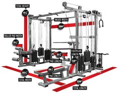 Legend Fitness 965 Six Weight Stack Combo Jungle Gym Footprint and Specs