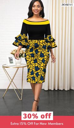 off & Women fashion chic casual maxi modest midi dress - African fashion Short African Dresses, Latest African Fashion Dresses, African Print Dresses, African Print Fashion, Women's Fashion Dresses, Dress Outfits, African Style Clothing, Ankara Dress Styles, Short Gowns