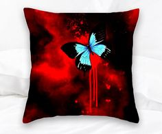 Red Abstract Butterfly Home Decor Red Abstract Throw Pillow