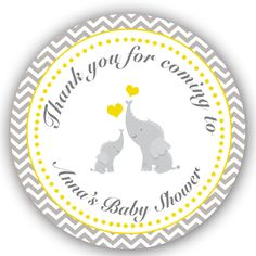 40 Stickers Thank You Labels Elephant Baby Shower Favor Chevron Yellow Grey | eBay