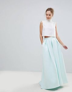 13c7f03bd32f ASOS Scuba Maxi Skirt with Pockets and Godet Back Detail Rock