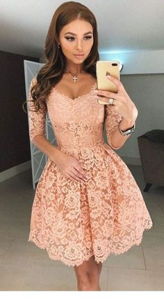 A-Line Homecoming Dress,Lace Prom Dress Short Prom Dresses,Short Pearl Pink Homecoming Dress,Lace Homecoming Dresses,short prom dress 2 Piece Homecoming Dresses, Elegant Bridesmaid Dresses, Hoco Dresses, Tulle Prom Dress, Cheap Dresses, Pretty Dresses, Dresses With Sleeves, Half Sleeves, Dress Party