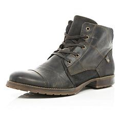 6d077ade227420 River Island MensDark brown leather contrast military boots Brown Leather  Boots