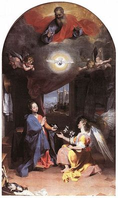 Federico Barocci — Annunciation (1592–96) Oil on canvas, Santa Maria degli Angeli, Perugia. Federico Barocci (c. 1526, Urbino – 1612, Urbino) was an Italian Renaissance painter and printmaker. His original name was Federico Fiori, and he was nicknamed Il Baroccio, which still in northwestern Italian dialects means a two wheel cart drawn by oxen. His work was highly esteemed and influential, and foreshadows the Baroque of Rubens. http://en.wikipedia.org/wiki/Federico_Barocci