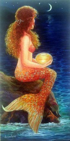 Moon and Mermaid Art Print Mermaid Art Mermaid Wall Decor Fantasy Mermaids, Mermaids And Mermen, Real Mermaids, Mermaid Wall Decor, Mermaid Pictures, Mermaid Tale, Merfolk, Ocean Art, Mythical Creatures