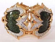Rare Vintage Haute Couture Marcel Boucher Lizard Skin Enamel Rhinestone Bracelet | eBay