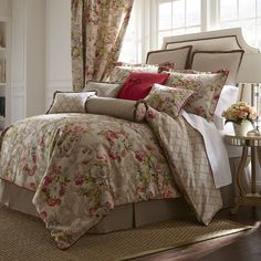 With a beautiful floral pattern, this four piece Bristol comforter set from Rose Tree makes a stylish addition to almost any room. A soft cotton construction makes this reversible comforter set a comfortable update for your master bedroom or guest room.