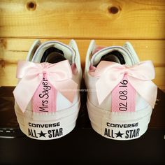 Personalised Wedding Converse with Heel Tags and Bows #weddingconverse