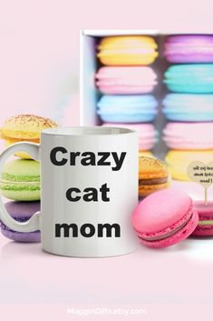 Gift for cat lover, Crazy cat mom Funny Coffee Cups, Funny Mugs, Best Dad Gifts, Gifts For Husband, Gifts For Pet Lovers, Cat Gifts, Coffee Mug Quotes, Customised Mugs, Just Because Gifts
