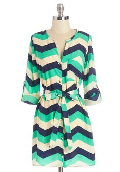 Believe It or Notorious Tunic in Chevron. Your eye-catching office style is renowned among your colleagues, and this printed tunic always rates a fashion favorite. #multi #modcloth