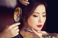 Brown smokey eyes; Asian Beauty / Korean / Ombre Lips / Wine Red