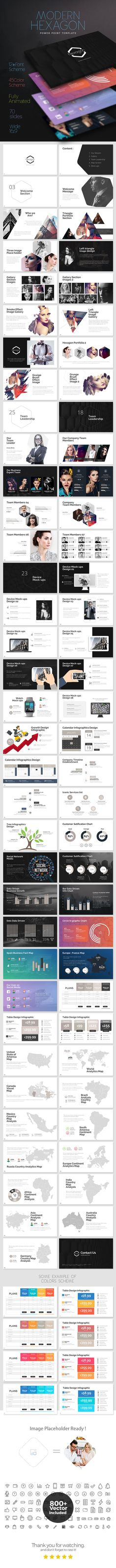 Modern Hexagon Powerpoint Template — Powerpoint PPTX #info graphics #seo • Download ➝ https://graphicriver.net/item/modern-hexagon-powerpoint-template/19188291?ref=pxcr