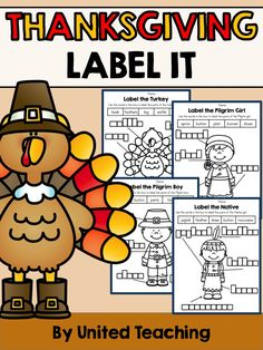 *** FREEBIE *** Thanksgiving Label It. Includes Label a Turkey, Boy Pilgrim, Girl Pilgrim, and Native Girl.