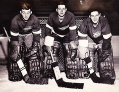 Dave Gatherum, Glenn Hall & Terry Sawchuk Detroit Red Wings 1954