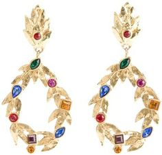 Yves Saint Laurent Vintage leaf pendant earrings on shopstyle.com