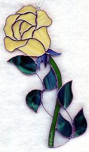 Stained Glass Flower Rose Yellow Suncatcher R053 | eBay