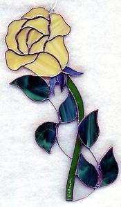 Stained Glass Flower Rose Yellow Suncatcher R053 | eBay