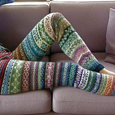 Fair Isle hand knitted leggings inspired by Elizabeth Zimmermann.