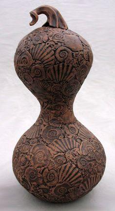 Elizabeth Shriver: Fossil Gourd, 2011, Ceramic, 18 x 9 x 9 in.
