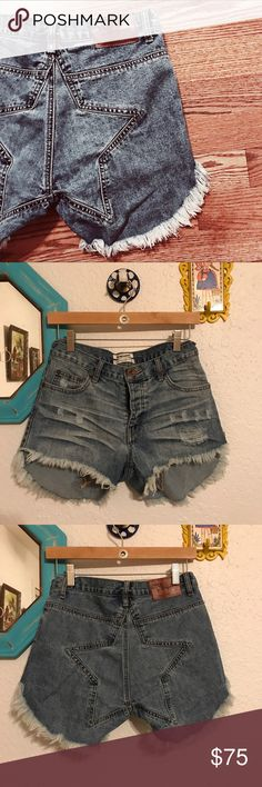 SALE🌼One Teaspoon   Juliettes Super fly denim cutoff shorts.  Frayed curved hem, star butt patch, high rise, button fly.  Bought from Free People.   These shorts make your butt look great without showing cheek!  Like new, just too small for me now 😭.  Size is marked 28 but they fit more like a 26 or even a 25.  When I was a solid 26 they fit very snugly.  Reasonable offers considered. Free People Shorts Jean Shorts