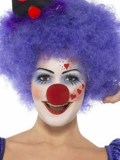 cool DIY clown makeup ideas for women red hearts purple wig red nose